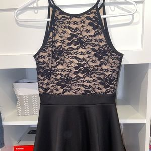 Juniors black and lace dress